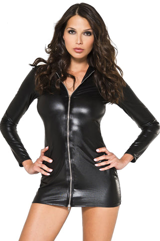 Music Legs Front Zipper Wetlook Collar Dress | Angel Clothing