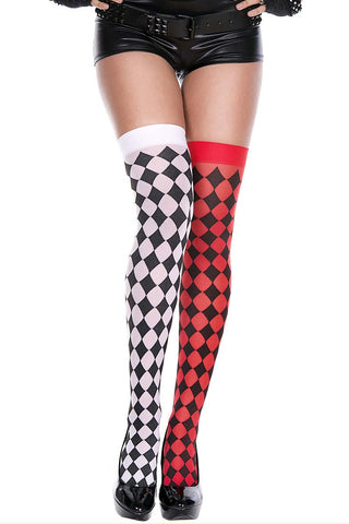 Music Legs Harlequin Mismatch Thigh Hi | Angel Clothing