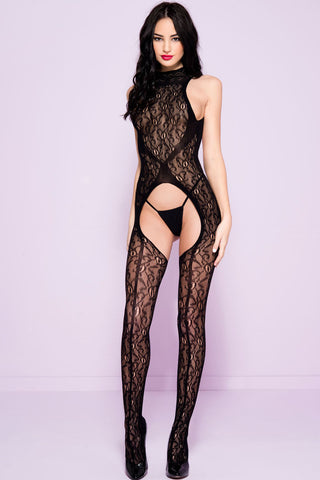 Music Legs High Neck Bodystocking | Angel Clothing