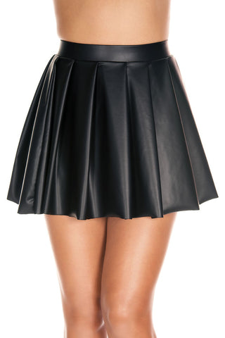 Music Legs Wetlook Pleated Skirt | Angel Clothing