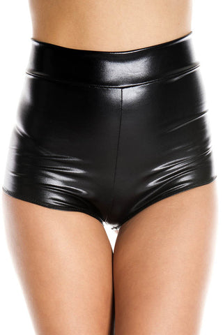 Music Legs High Waisted Wetlook Shorts | Angel Clothing