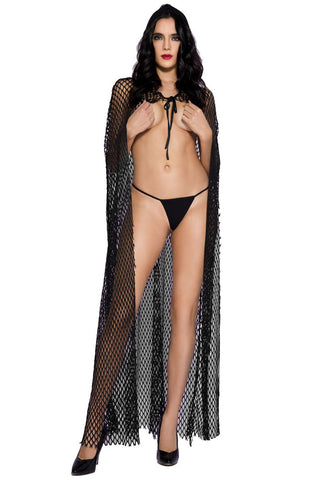 Music Legs Fishnet Hooded Cape | Angel Clothing