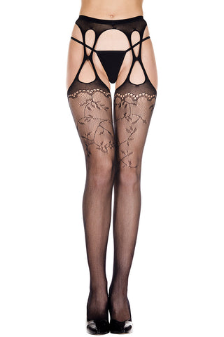 Music Legs Lace Pattern Fishnet Suspender Pantyhose | Angel Clothing