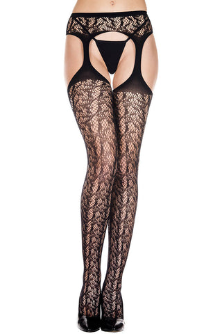 Music Legs Lace Suspender Pantyhose | Angel Clothing