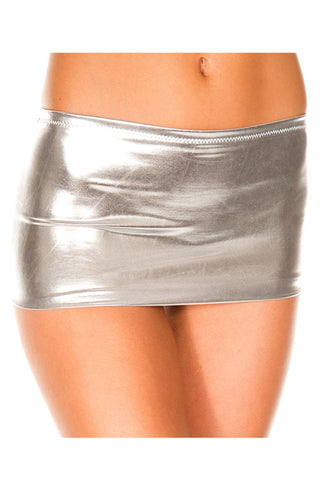 Music Legs Metallic Mini Skirt Silver | Angel Clothing