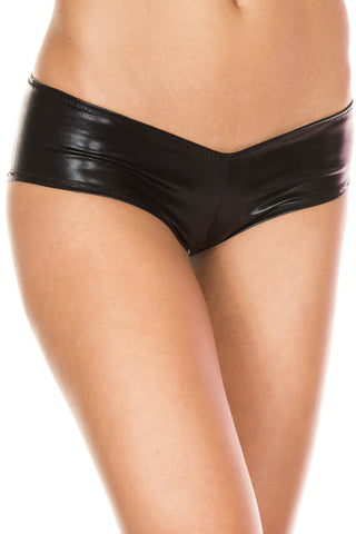 Music Legs Micro Metallic Shorts Black | Angel Clothing