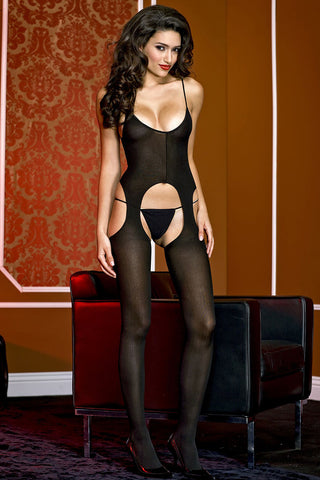 Music Legs Opaque Suspender Bodystocking | Angel Clothing