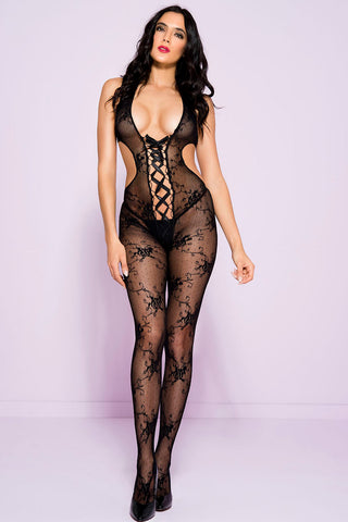 Music Legs Open Back Bodystocking | Angel Clothing
