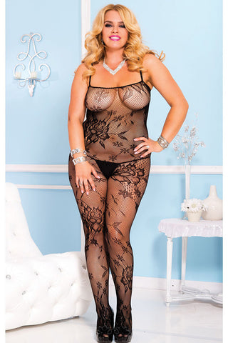 Music Legs Plus Size Lace Crotchless Bodystocking | Angel Clothing