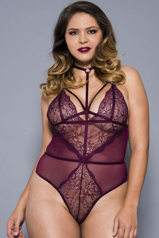 Music Legs Plus Size Burgundy Teddy 80043Q | Angel Clothing
