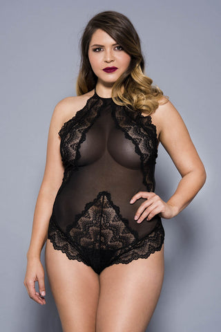 Music Legs Plus Size Teddy 80055Q Black | Angel Clothing