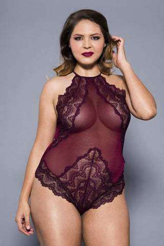 Music Legs Plus Size Teddy 80055Q Burgundy | Angel Clothing