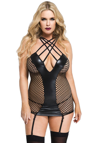 Music Legs Plus Size Fishnet Wetlook Mini | Angel Clothing