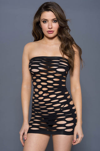 Music Legs Pothole Chemise Dress Black | Angel Clothing