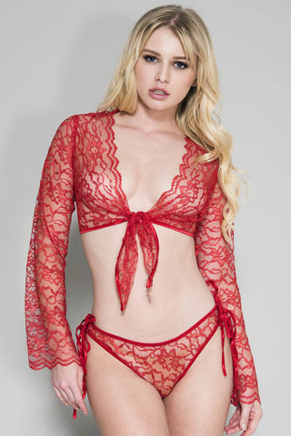 Music Legs Red Tie Front Top Set | Angel Clothing