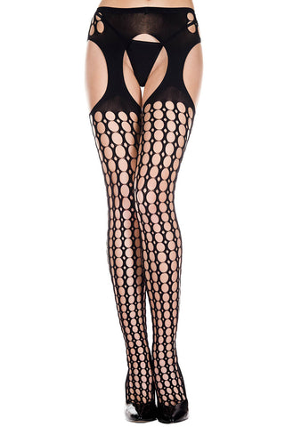 Music Legs Round Holes Pattern Suspender Pantyhose | Angel Clothing