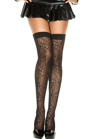 Music Legs Lace Spider Web Thigh Hi | Angel Clothing