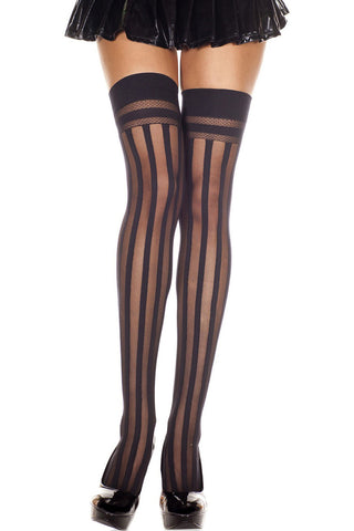 Music Legs Sheer Stripe Thigh Hi | Angel Clothing