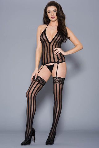 Music Legs Vertical Striped Halter Neck Chemise | Angel Clothing