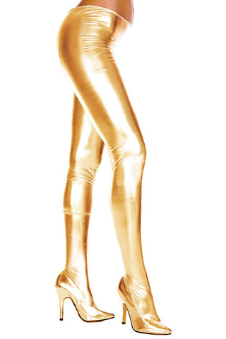 Music Legs Wet Look Pantyhose Gold | Angel Clothing