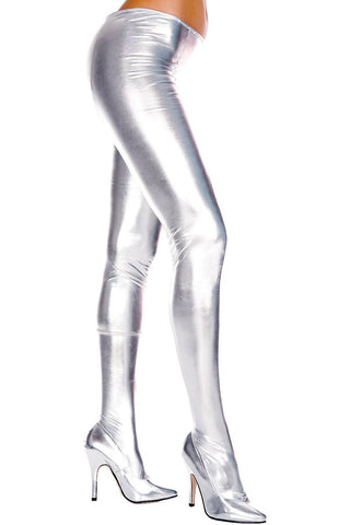 Music Legs Wet Look Pantyhose Silver | Angel Clothing