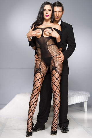 Music Legs Open Cup Fishnet Bodystocking | Angel Clothing