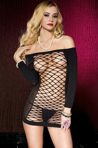 Music Legs Opaque Net Mini Dress | Angel Clothing