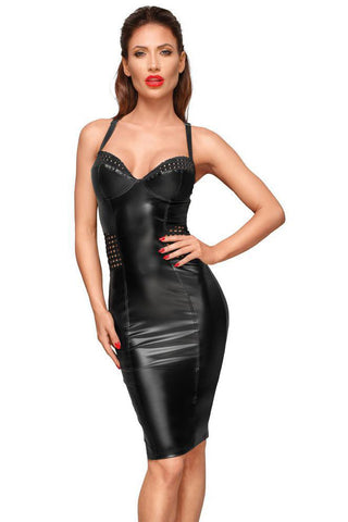 Noir Handmade Wetlook and Mesh Dress | Angel Clothing