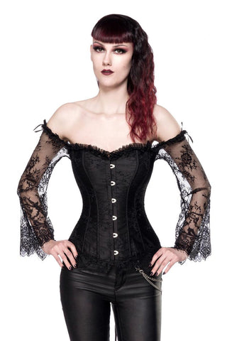 Ocultica Gothic Corset with Lace Sleeves | Angel Clothing