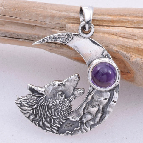 Seventh Sense Howling Wolf Pendant Silver | Angel Clothing
