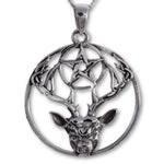 Seventh Sense Stag and Pentagram Pendant Silver | Angel Clothing