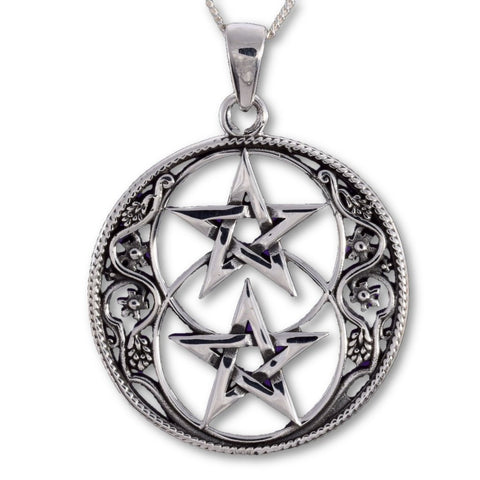 Seventh Sense Chalice Well and Double Pentagram Pendant Silver | Angel Clothing