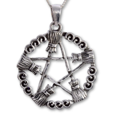 Seventh Sense Besom Pentagram Pendant Silver | Angel Clothing