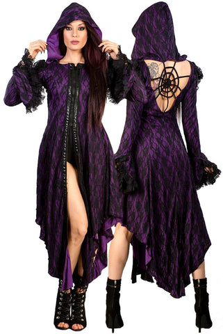 Burleska Hooded Purple  Jacket / Coat / Dress | Angel Clothing