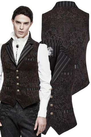 Punk Rave Gyrfalcon Waistcoat Brown | Angel Clothing