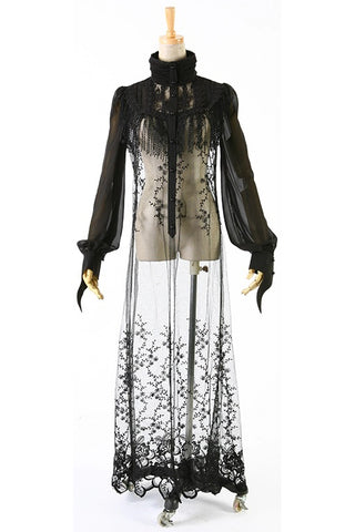 Punk Rave Black Gothic Long Lace Top | Angel Clothing