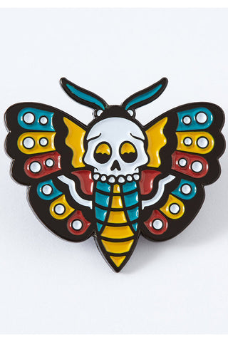 Punk Pins Death Head Moth Tattoo Enamel Pin | Angel Clothing
