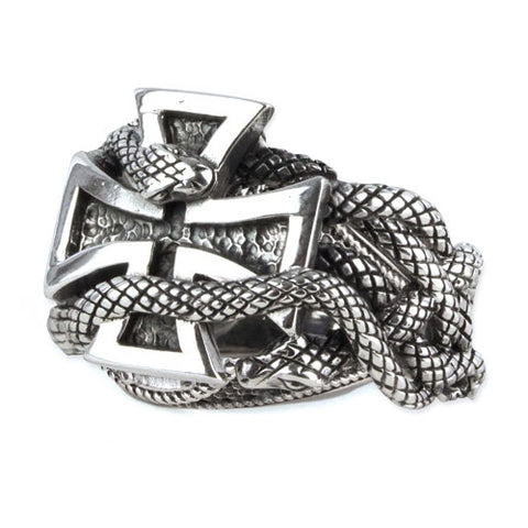 Echt etNox Snake Iron Cross Ring Sterling Silver | Angel Clothing