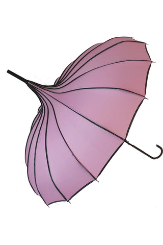 Ribbed Pagoda Pink Umbrella | Angel Clothing