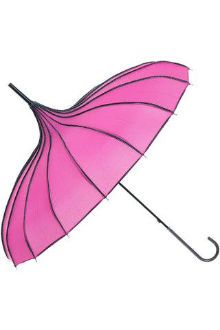 Ribbed Pagoda Rose Red Umbrella | Angel Clothing