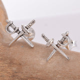 Seventh Sense Silver Crossed Cutlass Stud Earrings Silver | Angel Clothing