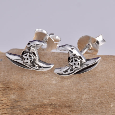 Seventh Sense Witch Hat Stud Earrings Silver | Angel Clothing