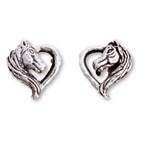 Seventh Sense Unicorn Heart Stud Earrings Silver | Angel Clothing