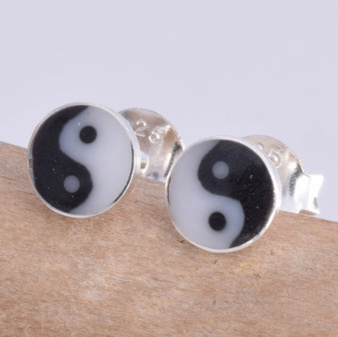 Seventh Sense Yin Yang Stud Earrings Silver | Angel Clothing