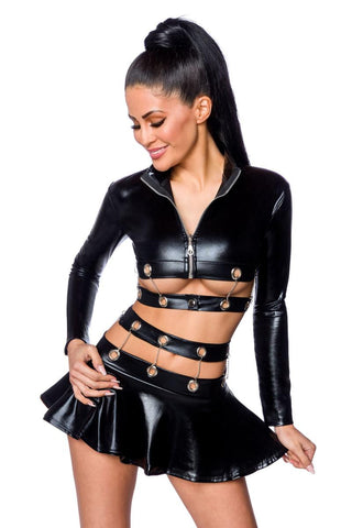 Saresia Metal Wetlook Set with Skirt | Angel Clothing