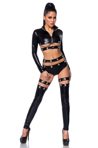 Saresia Dancewear Metal Wetlook Set | Angel Clothing