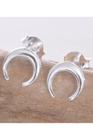 Seventh Sense Silver Horn Stud Earrings | Angel Clothing