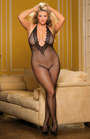 Shirley of Hollywood Plus Size X90417 Black Bodystocking | Angel Clothing