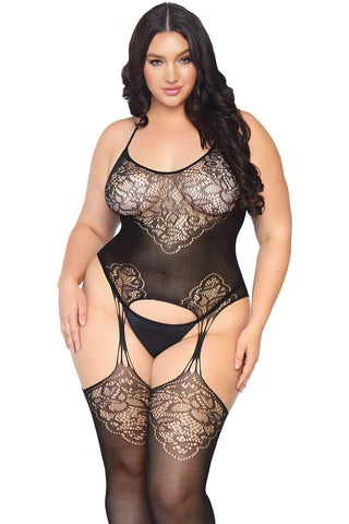 Leg Avenue Plus Size Jacquard Suspender Bodystocking | Angel Clothing