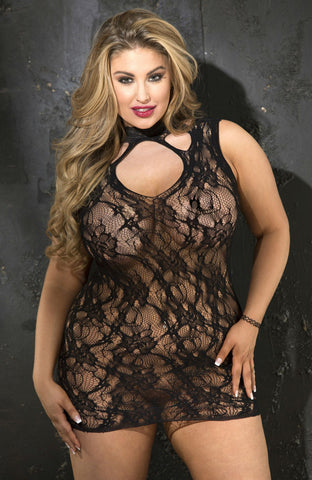Shirley of Hollywood X90393 Black Plus Size Chemise | Angel Clothing